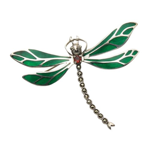 Wild Things Sterling Silver Dragonfly Pin w/Green Enamel Wings, Marcasite Tail and a Faceted Red Crystal ()