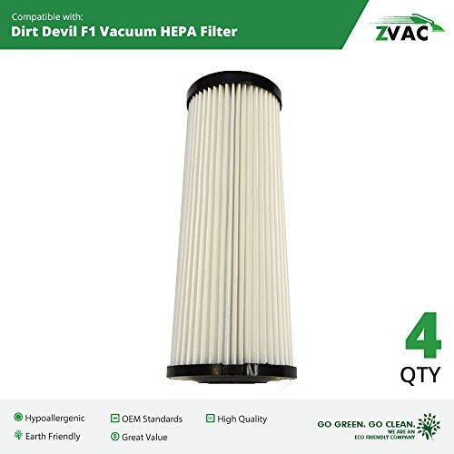 4 Dirt Devil F1 HEPA Filter Generic Part By ZVac. Replaces Part Numbers 2JC0280000, 3JC0280000, F1, F928, 470872, JC0280ES, Fits: Dirt Devil Bagless Extra Light, Featherlite & Vision Sensor