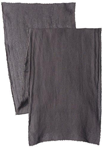 SARO LIFESTYLE Fringe Design Stone Washed Linen Table Runner, 16'' x 72'', Slate by SARO LIFESTYLE
