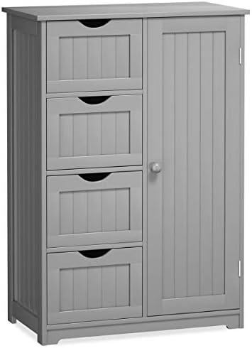 Giantex Bathroom Floor Cabinet Wooden with 1 Door 4 Drawer, Free Standing Wooden Entryway Cupboard Spacesaver Cabinet, Gray
