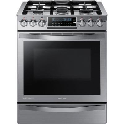 SAMSUNG NX58H9950WS Slide-In Gas Range with 5 Sealed Burners, 30-Inch, Stainless Steel