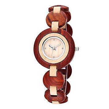 relojes de mujer, BeWell sandalia naturales woden muñeca mujeres del reloj del diamante del diamante
