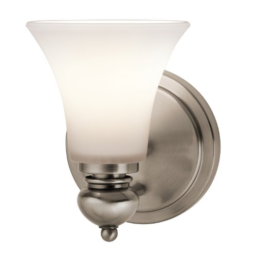 Kichler 45046CLP Sheila 1-Light Wall Sconce, Classic Pewter Finish with Sat-Inch Opal Etched White Glass (Kichler Pewter Mirror)
