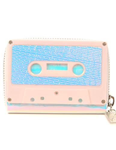 FYDELITY Cassette Tape Wallet -PRETTY IN PINK AURA SILVER |For Small Leather Coin Purse/Business Card Holder/Thin Case/Zip/String/Retro/Classic/Rock/Vintage/Music/Artist/Men/Women/Mom/Dad/Gift