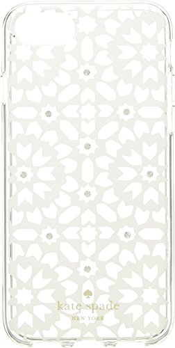 Kate Spade New York Women's Jeweled Floral Mosiac Clear Phone Case for iPhone 8 Clear Multi One Size by Kate Spade New York