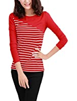 Allegra K Women Round Neck Striped T Shirts Long Sleeve Casual Tops