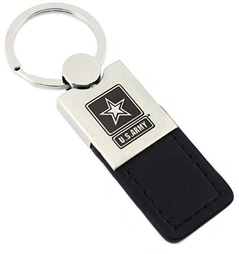 U. S. Army Black Leather Chrome Car Fob Key Chain - Army Key Fob Leather