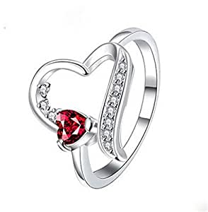 Heart Love 0.3CT Ruby&White Topaz 925 Silver Wedding Ring Jewelry Size 8
