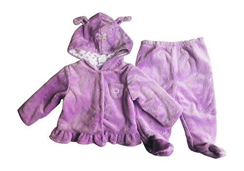 Baby Girl Hooded Fleece Lilac Bunny 2-Piece Hoodie and Pants with Footie Set - 6 Months