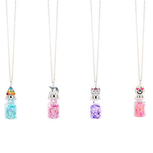 Pendant Mission Dust - FROG SAC 4 Magical Fairy Dust Glass Bottle Necklaces for Girls - Mini Glass Jar Pendants Necklace Set with Cute Metal Cap Charms - Party Favors and Gifts for Little Girls - Fashion Jewelry (Bottles)