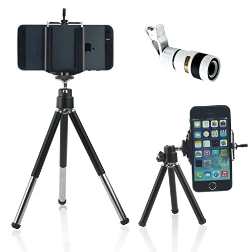 ONX3 (White + Tripod Holder) Universal Clip-on 8x Zoom Optical Telescope Manual Focus Phone Camera Lens and 360 Rotatable Mini Tripod Stand Holder for Gionee M6 Mirror by ONX3®