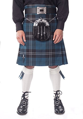 Kilt Society Mens 7 Piece Full Dress Kilt Outfit- Ramsay Blue Tartan with White Hose 34'' to 38'' by Kilt Society