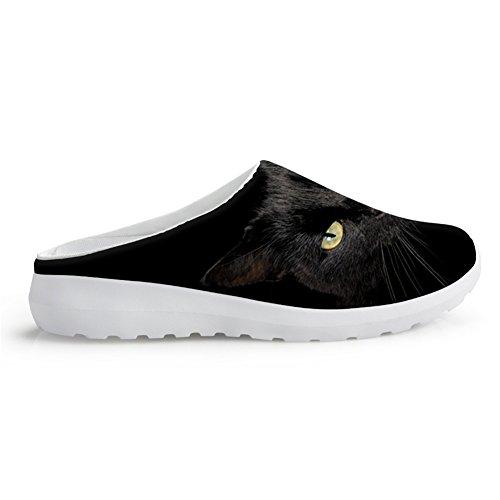 Animal Nopersonalidad Gato de verano negro confort Dog Cool Cat de ligeras Print Sandalias Zapatos Mocasines Malla aqqS5Rxr