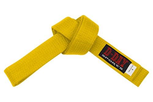 D Day Sports Karate belt, Size 4 (Yellow)