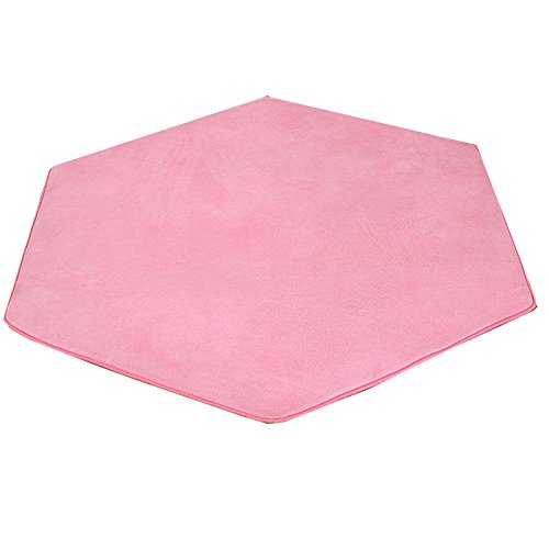 Hexagonal Rug for Kids Playhouse Super Soft Home Carpet Ground Mat Kids Tent Rugs Missingift Children Playhouse Pad Pink Cushion 140 x 140 cm(coral fleece) by Missingift