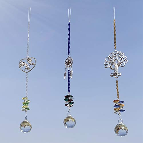 Joojus Sun Catcher Colorful Crystals Ball Glass Pendants Chandelier Suncatcher Prisms Hanging Ornament Octogon Chakra for Plants, Cars, Window Décor, Home, Office, Garden Decoration, 3 Pcs