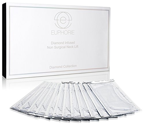 12-Piece Set Diamond Firm & Tone Non-Surgical Neck Lifting Mask - Anti Aging, Anti-Wrinkle, Hydrates The Skin, Provides Essential Vitamins, Tightens the Skin Around the Neck and Chin 2.1 Fl Oz each