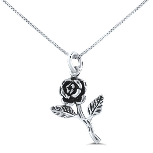 Sterling Silver Long Stem Rose Necklace (18
