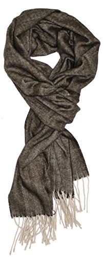 (Ted and Jack - Timeless Cashmere Feel Herringbone Pattern Scarf in Chocolate Brown with Tan)