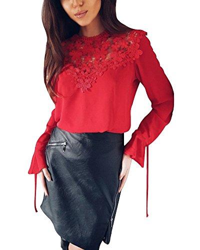 Chemise Soie Chemisiers T Shirt Couleur Tomwell Dentelle Longues Manches Blouse Mousseline Solide Rouge Tops de Chic Femmes EqwPUX