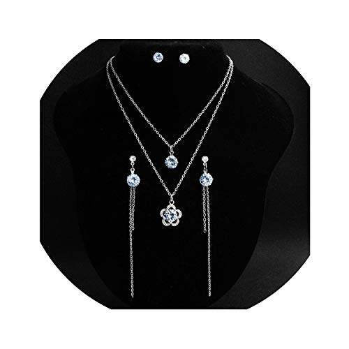 Bridal Jewelry Sets Double Chain Necklace Earrings Cubic Zirconia Wedding Bride Bridesmaids
