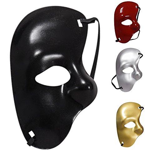 Choosebuy Half Face Party Mask, Men's Phantom of the Opera Masquerade Venetian Mardi Gras Mask For Halloween Christmas Party (White) -