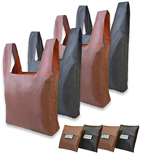 Reusable Grocery Bags, Set of 4 Pack, Shopping Bags, Large Tote Bag, Reusable Produce Bags Washable, Waterproof, Foldable into Pouch, LightWeight Oxford Fabric, Strong and Durable (Brown & Black)
