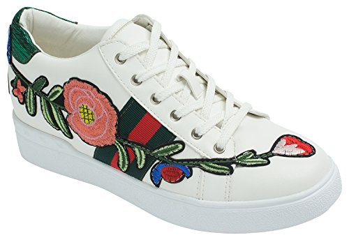 Panda Womens Embroidered Lace Up Low-Top Sneakers (US 7, White + Flower)