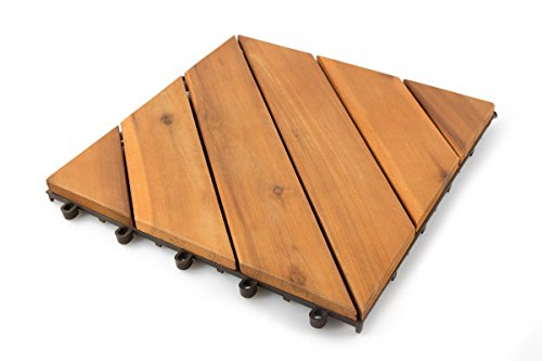 Thirteen Chefs Villa Acacia Wood Interlocking Deck Tiles for Outdoor Patio and Floors, 12 x 12 Inch, Pack of 10, 6 Angle Slat (Stone Patio Square Rubber)
