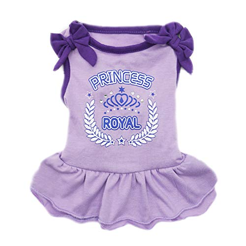 (kyeese Dog Princess Dresses Purple Bowtie Pet Apparel for Small Dogs Vest Shirt Sundress)