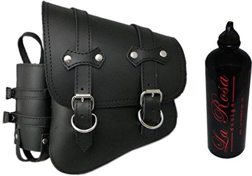 98 Softail Models (La Rosa Design All Softail Models Left Side claSICK Solo Saddle Bag - Black with Fuel Bottle Holder)