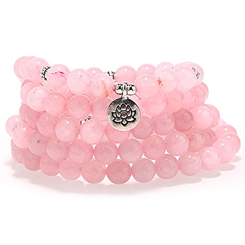 ZHEPIN 8MM Rose Quartz 108 Mala Beads Charm Bracelet for Men Women Yoga Bracelet Necklace