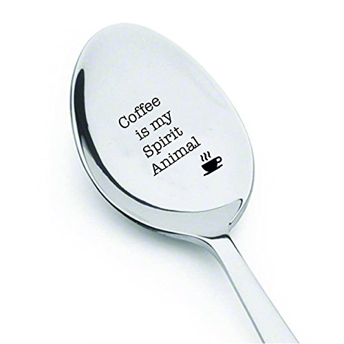 Coffee is my spirit animal- coffee spoon, best-selling item by Boston creative company, engraved spoon, anniversary gift, New year gift, Christmas gift-coffee lover by Boston Creative company