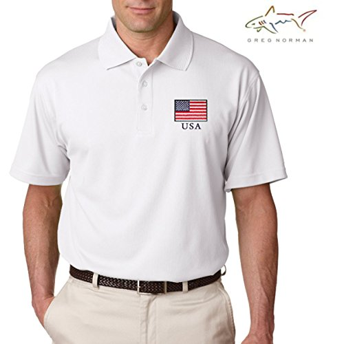 Greg Norman Performance Polo (Medium, (Embroidered Banded Bottom Shirt)