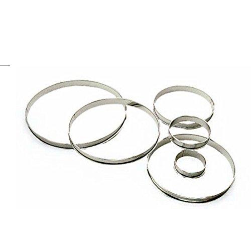 "Paderno 47533-22 Tart Ring 8.625"" dia. x 3/4"" H smooth rigid side stainless stee"