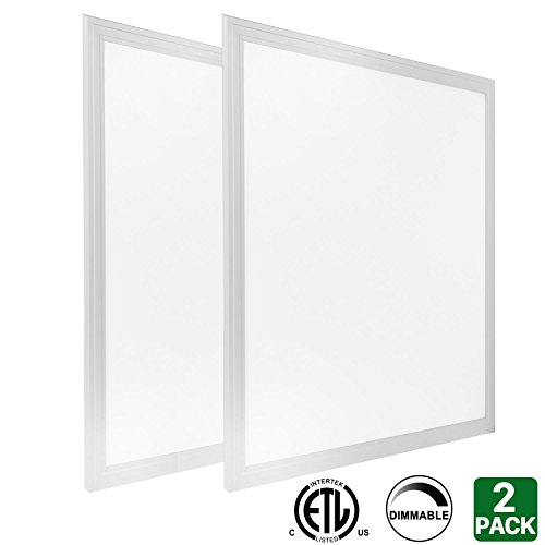 Hykolity 2ft x 2ft 40w LED Troffer Flat Panel Light Ultra Thin Commercial Drop Ceiling Edge-Lit Dimmable Lamp Fixture 5000lm ETL Listed-Pack of (Drop Ceiling Fixture)