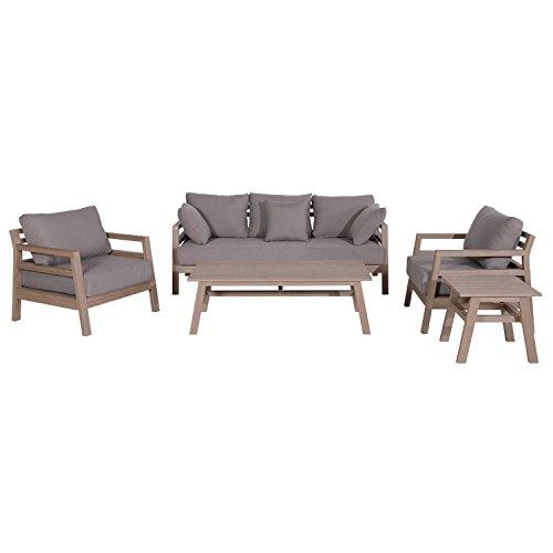 Garden Impressions 5-teilige Gartenmöbel Sitzgruppe Kiama, Lounge Gruppe für 5-6 Personen, vintage teak sand, 190 x 80 x 71 cm, 01010BR