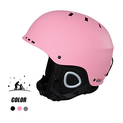 Vihir Adult Winter Ski Snow Helmet 2-in-1 Convertible Sports Skateboard Helmet for Men Women, Pink, M