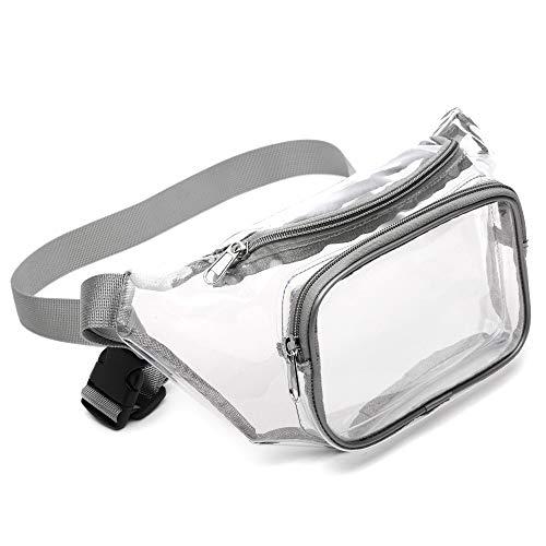 Fanny Pack, Veckle Clear Fanny Pack Waterproof Cute Waist Bag Stadium Approved Clear Purse Transparent Adjustable Belt Bag for Women Men, Travel, Beach, Events, BTS Concerts Bag, Grey