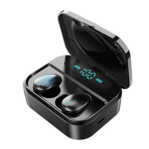 Earbud Headphones, 5.0 True Wireless Earbuds Deep Bass HiFi Stereo Sound 130H Playtime Bluetooth Earphones Smart LCD Digital Display Call Headset with 3600mAh Charging Case and Built in Mic