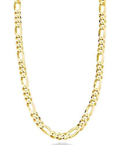 "MiaBella Solid 18K Gold Over Sterling Silver Italian 5mm Diamond-Cut Figaro Link Chain Necklace for Women Men, 16"", 18"", 20"", 22"", 24"", 26"", 30"" (18)"