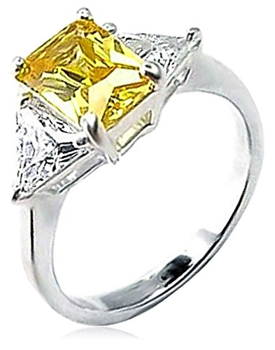 Bling Jewelry Bling Jewelry Sterling Silver Canary CZ Three-Stone Engagement Ring - Size 9 price tips cheap