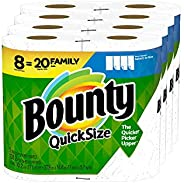 Bounty Quick-Size Paper Towels, 8 Family Rolls = 20 Regular Rolls