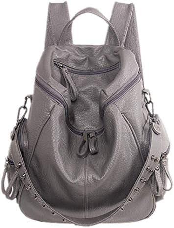 minyun Frauen Rucksack Pu Ledernaht Damen Rucksack Punk Rucksack Bunte Tasche Student Bag,Black-34 16 40cm