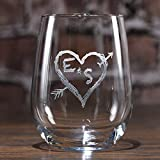 Etched Stemless Wine Glasses, Personalized Wine Lover Gift Ideas, SET OF 2 (m53less) For Sale