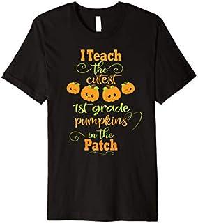 Halloween Cutest Pumpkins Funny First Grade Teacher Gift Premium T-shirt | Size S - 5XL
