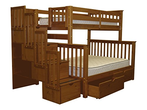Bedz King Stairway Bunk Beds Twin over Full with 4 Drawers in the Steps and 2 Under Bed Drawers, Espresso