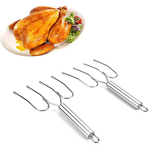 Thanksgiving Turkey Lifter Serving Set Stainless Steel Roaster Poultry Forks,Set of 2