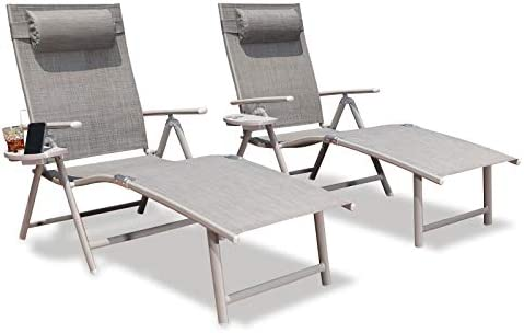 GOLDSUN Aluminum Outdoor Folding Lounge Chairs Adjustable Chaise Lounge Chair Set of 2