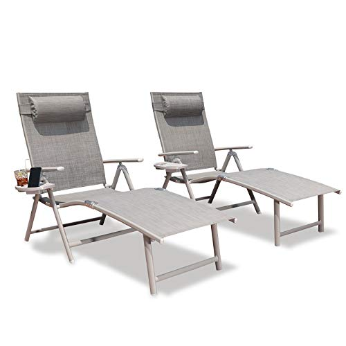GOLDSUN Aluminum Outdoor Folding Lounge Chairs Adjustable Chaise Lounge Chair Set of 2 with Headrest and Tray for Patio Beach Porch Swimming Poolside Set of Two, Grey